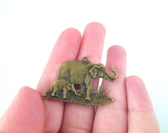 brass elephant charms 33x32mm, pick your amount, D96