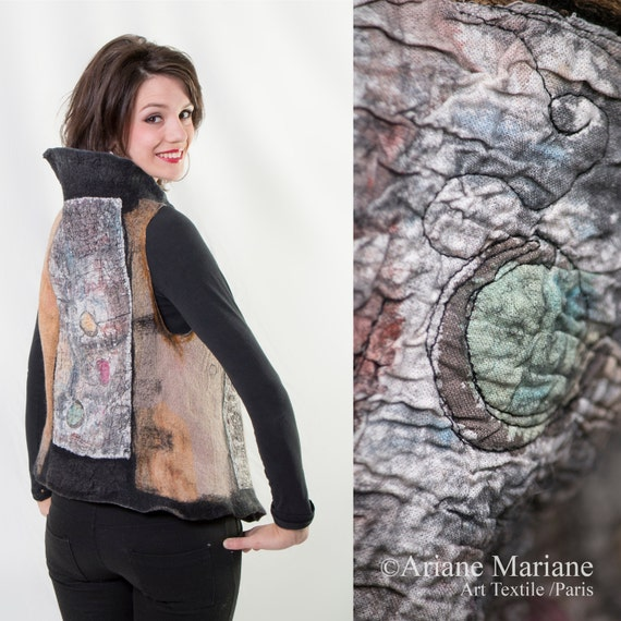 Nuno Felt Artist Vest, Merino Wool Women Vest, Wearable Art Garement Paris, Reversible Vest, Convertible Bolero, Fiber Art, Original Art