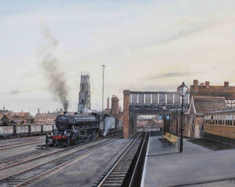 CROMER BEACH - Limited Edition Steam Railway Train Print from an Original Oil Painting by Wrenford Thatcher