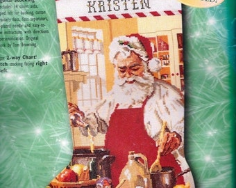 Repackaged Bucilla A Pinch of Cheer Santa Chef Cooking Baking Christmas Cross Stitch Stocking Kit 84107 R