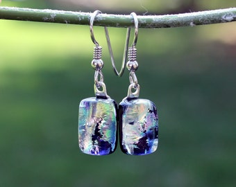 Silver Dichroic Earrings // Mismatched Earrings // Hypoallergenic // Nickel Free // Dichroic Glass // Dangle Earrings // Contemporary
