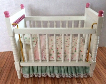 Miniature One Inch Scale Pink and Green Crib