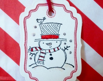 Set of 6 Hand Stamped Christmas Tags, Hand Stamped Gift Tags, Hand Stamped Holiday Tags, Snowman Tags