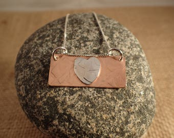 Copper/Sterling Silver Heart Pendent