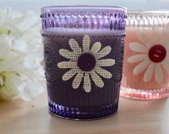 Handmade Purple or Pink pressed glass eco-friendly soy wax candles