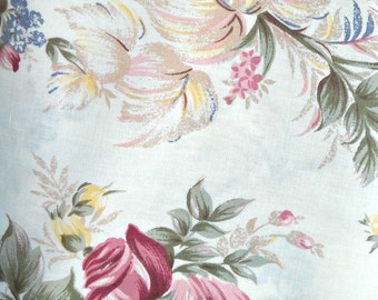 Romantic Roses Fabric Linen Cotton Blend, Fabric by the Yard Sewing Material