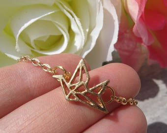 Origami Crane necklace | origami necklace | paper crane | origami jewelry | bird necklace | gold crane necklace | crane jewelry