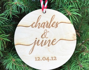 Our First Christmas Ornament Married, Personalized Christmas Ornaments, Mr and Mrs, Couple Gifts, Newlywed Gift, Just Married, Bride & Groom