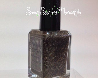 Electra - Seven Sisters Nail Lacquer - 15 mL 0.5 Fl Oz. - Pleiades Collection - Black Linear Broken Gold Holographic Nail Polish