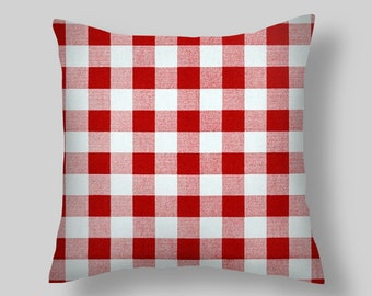 Red Checked Pillow Cover   Plaid Collection