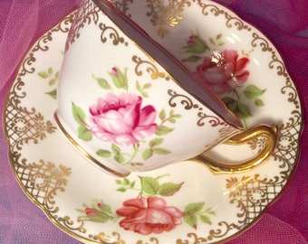 Pretty In Pink-Royal Stuart Hand Painted Teacup and Saucer