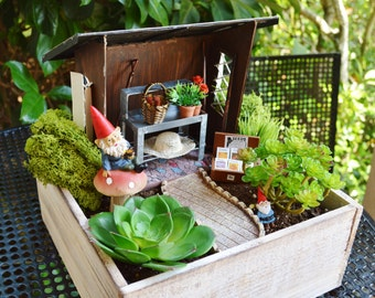 Gnome Garden or Garden Shed Kit with Bike ~ Shed, Potting Bench, Seed box, Garden tools + more ~ Miniature Garden ~ See Options at Checkout
