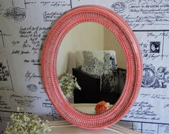 Orange pink antique oval mirror linen