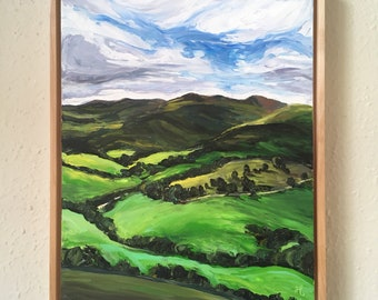 Welsh Countryside Green  - framed original oil painting