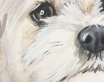Original watercolor, original nursery art, pet portrait, dog, dog portrait, cat portrait, custom pet painting, animal painting, dog portrait