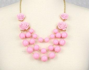 Multi Strand Rose Bubble Necklace Statement Necklace Bib Necklace Pink