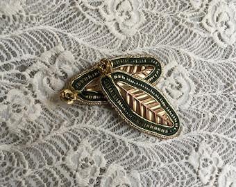 Statement Earrings, Soutache Earrings, Handmade Earrings, Gold Green Earrings, Gold Soutache Earrings, Leaf Earrings, Long Earrings