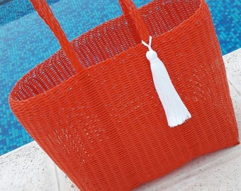 Large Plastic Beach Bag/Tote. Red  with White Tassel/Pom Pom! Handmade in Guatemala. Perfect Pool, Beach or Basket Bag!