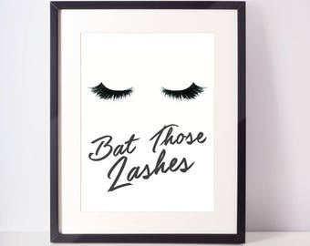 Bat Those Lashes Wall Art, Bathroom, Makeup, Eyelashes, Wall Decor, Home Decor, Wall Print, Baby Nursery Print, Dorm