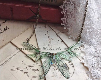 Beautiful delicate forest green faerie winged necklace