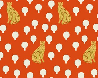 Cheetahs in Persimmon by Sarah Golden from the Around Town collection for Andover #A-8762-O by 1/2 yard