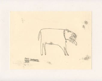 FIERCE DOG 6 - A Mono Print - Original Faye Moorhouse Illustration drawing art