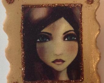 Fairy Art Miniature Portrait - Jewelry Brooch / Pin