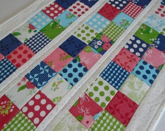 Quilted Table Runner Retro Brights,  Quilted Table Topper, Dresser Scarf, Scrappy Patchwork Table Runner, Pinwheels, Polka Dots, Flowers