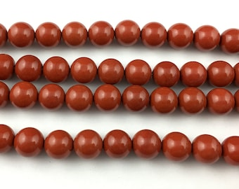 A 10mm Natural Red Jasper Beads, Jasper Gemstone Beads, Round Semi Precious Stone Beads For Jewelry Making 15''