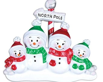 North Pole Family of 4 Personalized Christmas Ornament - Snowman Family Ornament