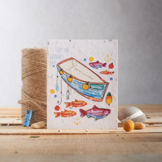 To dad on Father's Day - Card for dad - Fishing card - dill seeds - plantable paper - plant the card - seed card -boats & fish - fishing fun