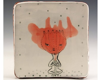 A Ceramic Square Plate by Jenny Mendes - Gardener