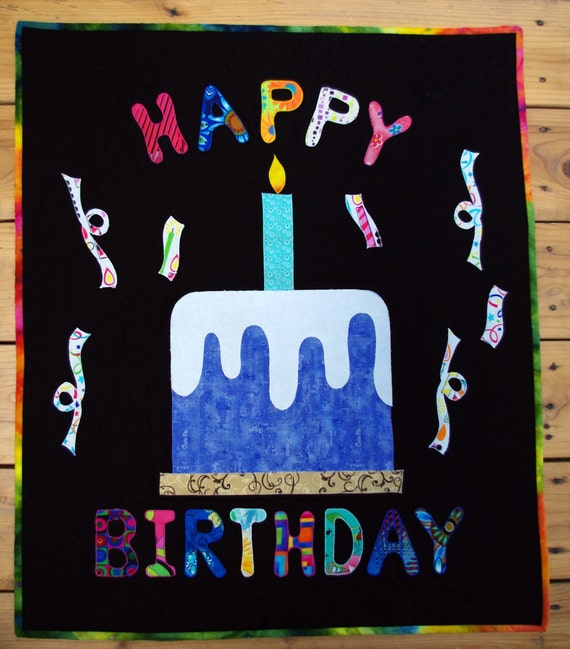 Happy Birthday Art Quilt Wall Hanging Banner Birthday Quilt