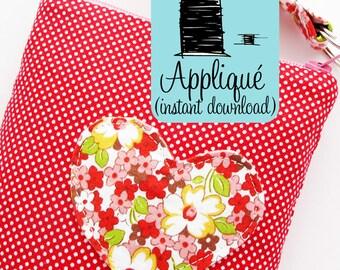 Heart Appliqué PDF Sewing Pattern | Heart Applique Embellishment PDF Instant Download