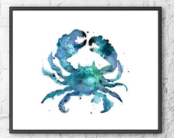 Blue Crab Print, Watercolor Nautical Art, Ocean Art, Coastal Decor, Beach Decor  - F130