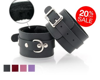Bondage Cuffs for BDSM - Premium Leather Handcuffs with Faux Fur Lining used as Restraints