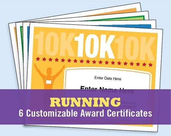 Running certificates pack runner award 5k 10k fun run one yelopaper Image collections