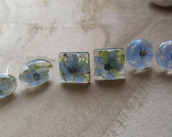 forget me not earrings, resin earrings, flower earrings, blue earrings, silver stud earrings, flower studs, resin stud earrings, resin studs