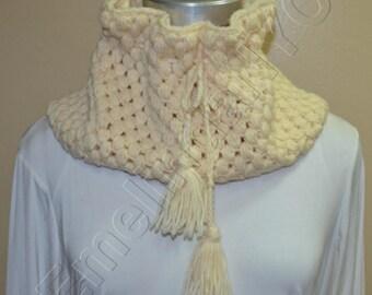 Crochet Cowl Neck, in Beige
