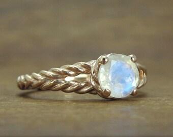 Moonstone Engagement Ring, Moonstone Rose Gold Engagement Ring, Engagement Ring, Gold Twisted Rope Engagement Ring,  Moonstone Ring