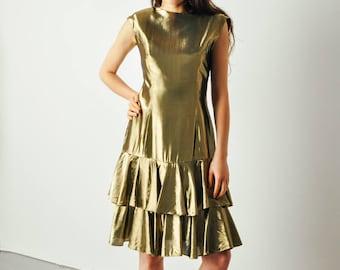 Vintage Gold Lame Ruffle Dress