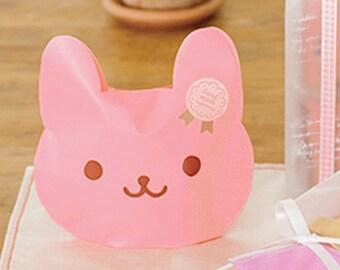 2 Smile Plastic Bags - Pink Rabbit (5.9 x 5.5in)