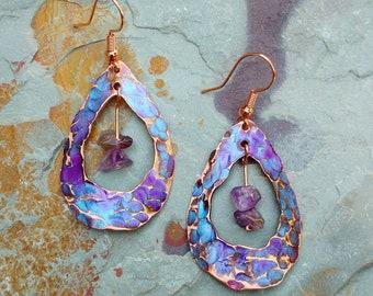 Copper with Amethyst Stone Earrings - Handmade
