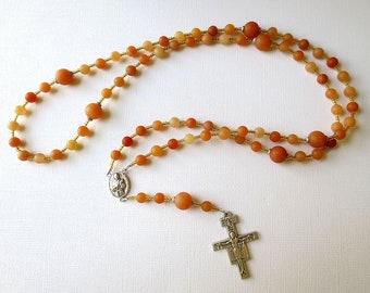 Orange and Yellow Franciscan Crown Rosary of Matte Red Aventurine with Saint Francis/ Saint Clare Center and San Damiano Cross