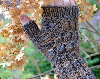 Fingerless Gloves Knitting PATTERN PDF, Knitted Fingerless Gloves Pattern, Fingerless Mitts Knitting Pattern - Back Roads Mitts