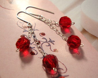 Red Ruby crystals on Sterling Silver Chain Tassel Earrings