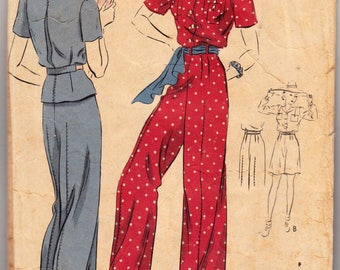 "Vintage Sewing Pattern 1930s Ladies' Blouse, Trousers, Shorts, Pajamas Vogue 8062 Size 32"" Bust - Free Pattern Grading E-book Included"