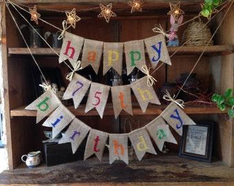 Burlap Happy Birthday Colorful Bunting