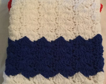 Crochet Baby Blanket-Travel/Car Seat/Stroller/ Crib/ Blue & White/Red Border