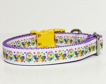 """3/4"""" wide Easter Chicks Dog Collar - Spring - Eggs, Bunny, Rabbit, Cute - Dog Gift - Pet -"""